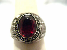 STERLING SILVER RED STONE VETERANS MIDDLE SCHOOL RING 1978 SIZE 6.75