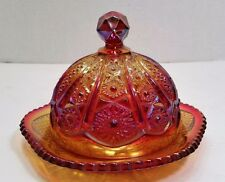 Vintage Heirloom Sunset Indiana Carnival Glass Round Butter Dish, Red Orange