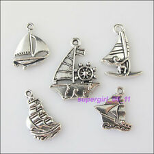 10Pcs Mixed Tibetan Tibetan Silver Tone Sailing Boat Charms Pendants