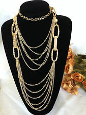 "19"" Beartiful Multi-Strand Charm Necklace - Gold Tone Chain (New)"
