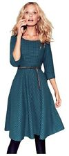 Boden Kate Dress, Wool Teal Polka Dots Size UK18/US14