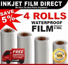 "5 MIL - Waterproof Inkjet Film Transparency  13"" x 100' 4 - Rolls"