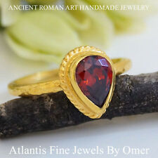 STERLING SILVER PEAR GARNET STACKING RING 24K GOLD PLATED FINE HANDMADE BY OMER