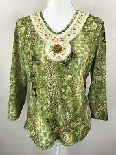 Uniform John Paul Richard Women's BLING Floral Green Knit Top Shirt Size Large