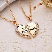 Fine Fashion Splice Heart Pendant Best Friend Letter Necklace Women's Jewelry QW