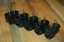 Black Vintage Style Plastic Plug - 5-Pack - Cloth Covered Wire - Lamp Cord