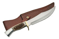 "NEW! 13.5"" Iron Cougar Stag Bone Handle Hunting Bowie Knife w/ Leather Sheath"