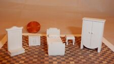 Miniature Dollhouse Furniture 1/4 scale 1/48 White Plastic Bedroom Furniture