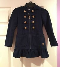 JUICY COUTURE Girls Wool Blend Coat With Hood & Ruffles Dark Blue Girls 6