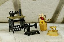 Vintage Miniature Metal Dollhouse Singer & Treadle Sewing Machine Basket Iron A9