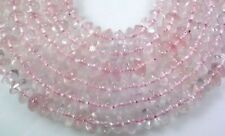 "NATURAL GEMSTONE PINK ROSE QUARTZ PLAIN RONDELLE BEADS 13""  Z21"