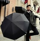Automatic Black Checkered Squares Compact Rain Umbrella Mens Smart Stylish Auto