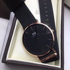 DANIEL WELLINGTON CLASSIC CORNWALL- ROSE GOLD BLACK FACE BLACK NYLON 40MM