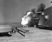 8x10 Print USS New Jersey BB62 Gun Firing it's Cannons 1953 #USSNEW