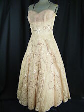 Vtg 50s Pale Pink Strapless Lace Sequin Beaded Prom Dress-Bust 34/XS-S