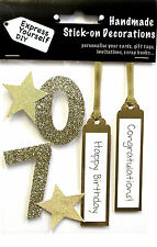 Gold 70th Birthday DIY Greeting Card Toppers Personalise Handmade Cards Yourself