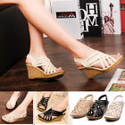 SH Womens High Heels Wedge Open Toe Elastic Ribbon Strap Ankle Sandals 3Colors