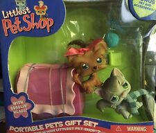 Littlest Pet Shop Portable Pets Gift Set Persian Cat Yorkie Terrier Dog pink NEW