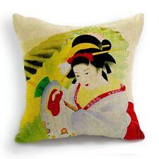 Retro Vintage Japanese Woman Umbrella Kimono Pillow Case Cushion Cover 18''