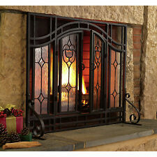 Fireplace Screen Doors Black Mesh Glass Home Garden Improvements Heating Cooling
