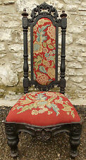 Antique Victorian heavily carved ebonised hall nursing CHAIR original tapestry