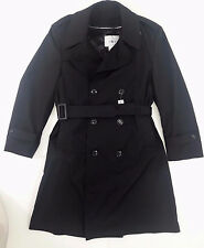 American Apparel Mens Sz 40XS Black Trench Rain Coat Removable Lining Airforce