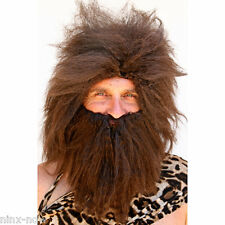 Men's Caveman Wig & Beard Set Brown Crimped Hair DELUXE Fancy Dress Costume Wig