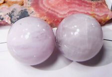 2 RARE HUGE NATURAL CHATOYANT PINK AFGHAN KUNZITE ROUND BEADS 20mm 133.25ctw