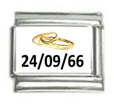 Italian Charms Custom Made  Wedding Anniversary with Date Gold Rings