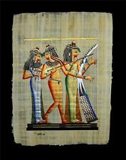 """Rare Authentic Hand Painted Ancient Egyptian Papyrus 13""""x17"""" Musician Pharaohs"""