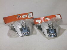 Two Black & Silver Peak Cliffhanger Visors for Kimpex CKX TX417 Helmets - NEW!!!