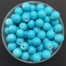 NEW DIY 6mm 50PCS Sky Blue Glass Round Pearl Spacer Loose Beads Jewelry Making