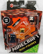 Minecraft Netherrack Series 3 Mini Figure 3-Pack: Squid, Alex & Black Sheep