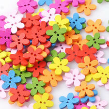 Fashion Flower Shape Colorful Wooden DIY Clothes Bottons 100 PCS/lot New