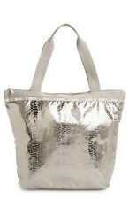 New $88 Lesportsac Hailey Tote Magnetic Snake Foil Silver Purse Bag
