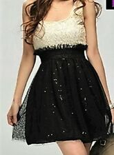 B02 Sml Ladies Black/Ivory Lace Style Bust with sequin skirt lined party dress