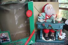 "HOLIDAY CREATIONS CHRISTMAS ANIMATED SANTA 18"" LARGE PAINTING ART 1994 LIGHTED"