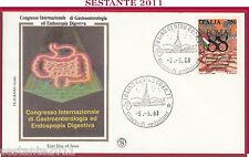ITALIA FDC FILAGRANO GOLD CONGRES. GASTROENTEROLOGIA ENDOSCOPIA TORINO 1988 Z304
