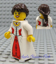 NEW Lego Pirates Brown Hair FEMALE MINIFIG White & Red Dress/Skirt Princess Girl