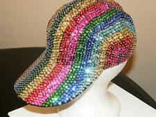 GLITTERING SEQUIN BASEBALL CAP HAT RAINBOW MULTI COLOR MATCHES ALL OUTFITS NEW !