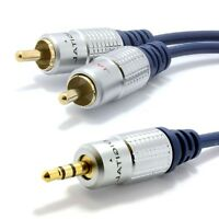 Pro Audio Metal 3.5mm Stereo Jack to 2 RCA Twin Phono Plugs Cable 24K Gold OFC