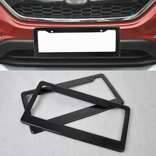NEW 2Pcs Carbon Fiber Custom License Plate Tag Snap Fit Frame for Auto Car Truck