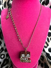 Betsey Johnson Farmhouse Farm House Barn Chicken Hen Box Long Locket Necklace