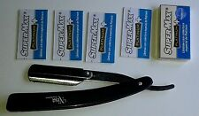 NISA PRO BARBER DISPOSABLE SHAVING STRAIGHT RAZOR  WITH 10 BLADES RZ3pl