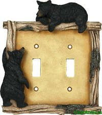6 Pack: Black Bear Double Light Switch Plate Cover Western Rustic Lodge Cabin