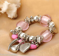 Lovely Pink Heart Charm Stone Fashion Bracelet Bangle Jewellery For Womens Girls