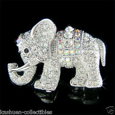 w Swarovski Austrian Crystal ~Classy Holy Lucky ELEPHANT~ Animal Pin Brooch Xmas