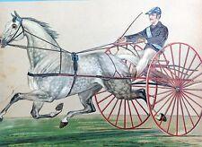 2x gr. OblateTrabrennen Rennpferd Pferd Traber Sulky 28cm u. Mädchen Apfel ~1860