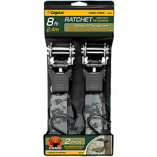 2 Pc 8' Camo Ratchet Tie Down Strap Cargo Tow Ratcheting Camouflage Heavy Duty
