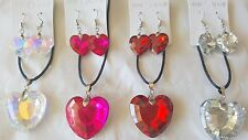 Joblot of 20 Heart Shape Crystal Necklace & Earring sets  - NEW Wholesale